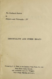 Cover of: Immortality and other essays