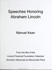 Cover of: Speeches honoring Abraham Lincoln | Manuel Kean