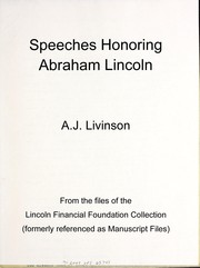 Cover of: Speeches honoring Abraham Lincoln | Abraham Jacob Livinson