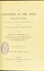 Cover of: On concussion of the spine : nervous shock and other obscure injuries of the nervous system in their clinical and medico-legal aspects