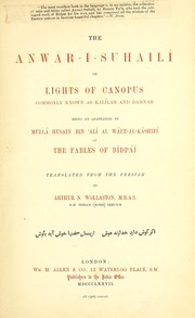 Cover of: The Anwa r-i-suhaili