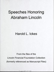 Cover of: Speeches honoring Abraham Lincoln