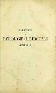 Cover of: ©l©♭ments de pathologie chirurgicale g©♭n©♭rale