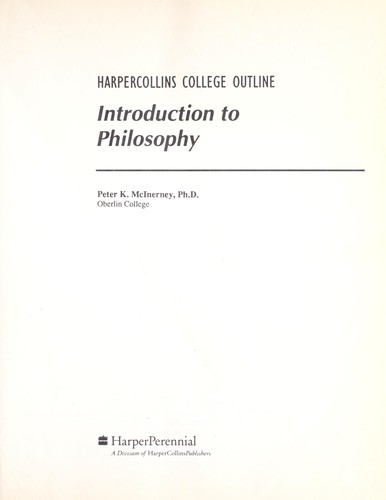 Introduction to philosophy by Peter K. McInerney