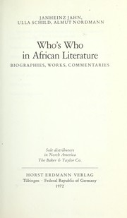Cover of: Who's who in African literature: biographies, works, commentaries