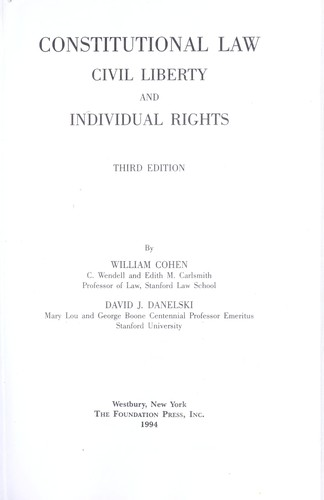 Constitutional law by Cohen, William