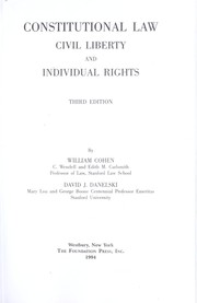 Cover of: Constitutional law | Cohen, William