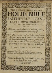 Cover of: The Holie Bible faithfully translated into English, out of the authentical Latin