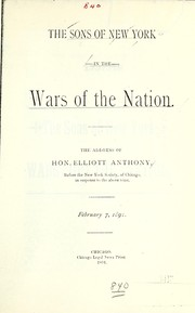 Cover of: Sons of New York in the wars of the nation | Elliott Anthony
