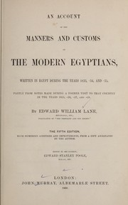 Cover of: An account of the manners and customs of the modern Egyptians