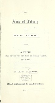 Cover of: The Sons of Liberty in New York