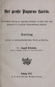 Cover of: Der grosse papyrus Harris by August Eisenlohr