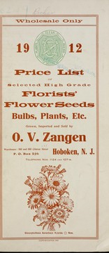 1912 price list of selected high grade florists' flower seeds by O.V. Zangen (Firm)