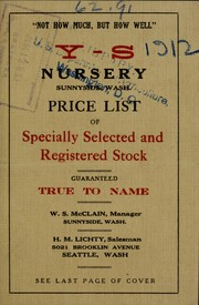 Cover of: Price list of specially selected and registered stock | Yakima-Sunnyside Nursery