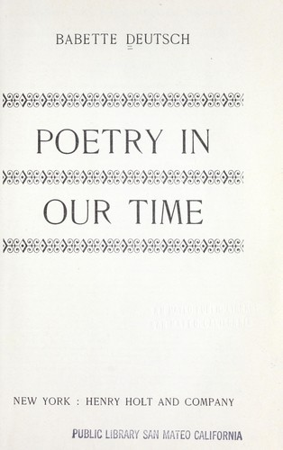 Poetry in our time. by Deutsch, Babette