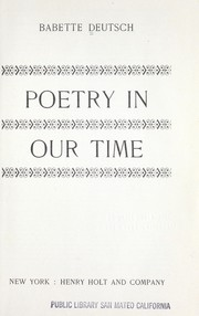 Cover of: Poetry in our time. | Deutsch, Babette