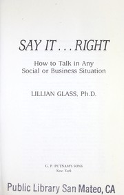 Cover of: Say it-- right | Lillian Glass
