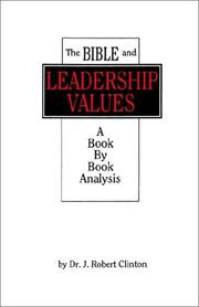 Cover of: The Bible and Leadership Values