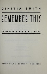 Cover of: Remember this