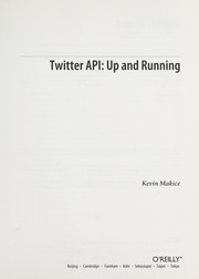 Cover of: Twitter API by Kevin Makice
