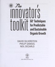 Cover of: The innovator's toolkit: 50+ techniques for predictable and sustainable organic growth