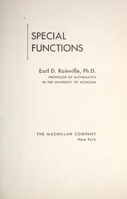 Cover of: Special functions