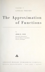 Cover of: The approximation of functions