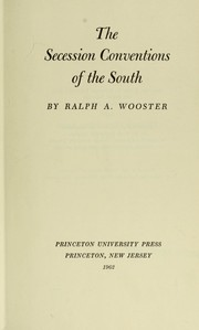 Cover of: The secession conventions of the South