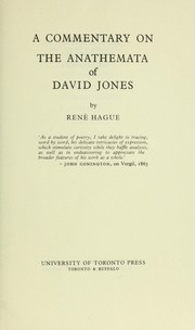 Cover of: A commentary on the anathemata of David Jones | RenГ© Hague