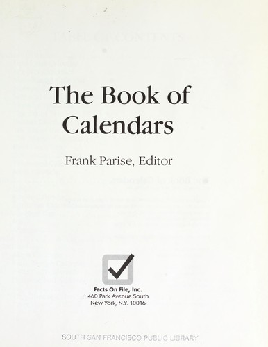 The Book of calendars by Frank Parise, editor.