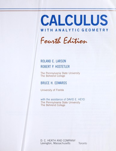 Calculus with analytic geometry by Ron Larson