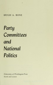 Cover of: Party committees and national politics