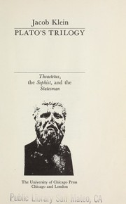 Cover of: Plato's trilogy | Klein, Jacob
