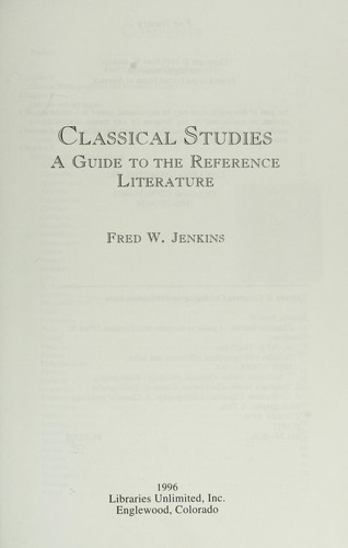 Classical studies by Fred W. Jenkins