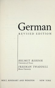 Cover of: German | Helmut Rehder