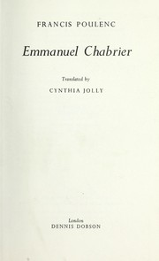 Cover of: Emmanuel Chabrier