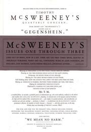Cover of: McSweeney's Issues One Through Three (Mcsweeney's)
