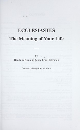 Ecclesiastes : the meaning of your life by