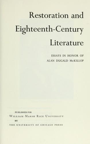 """eighteenth century literature essay Pope, """"an essay on criticism stephen, english literature in the eighteenth century perry, english literature in the eighteenth century seccombe."""
