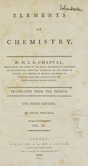 Cover of: Elements of chemistry