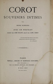 Cover of: Corot, souvenirs intimes