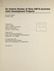 Cover of: An interim review of nine UMTA-assisted joint development projects