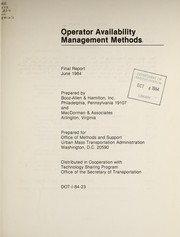 Cover of: Operator availability management methods | Booz, Allen & Hamilton