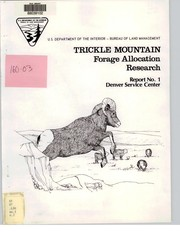 Cover of: Progress report : Trickle Mountain research area [report no. 1] . | James A. Bailey