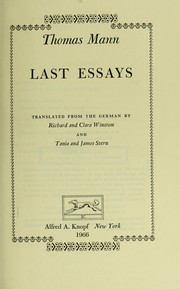 Cover of: Last essays