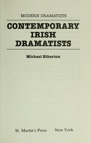 Cover of: Contemporary Irish dramatists