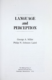 Cover of: Language and perception | Miller, George A.