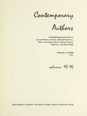 Cover of: Contemporary Authors New Revision, Vol. 96 | Francis C. Locher