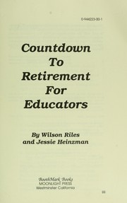Cover of: Countdown to retirement for educators | Wilson C. Riles