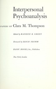 Cover of: Interpersonal psychoanalysis | Clara Thompson